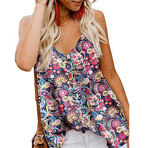 NCCIYAZ Womens Vest Tank Top V-Neck Straps Print Cami Top Loose Camisole Sleeveless Ladies Shirt(M(6),Multicoloured) -