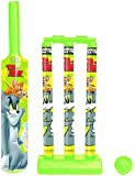 Tom & Jerry Mini Cricket Set with 1 Plastic Bat and Ball, 3 Wickets, Base and Bail
