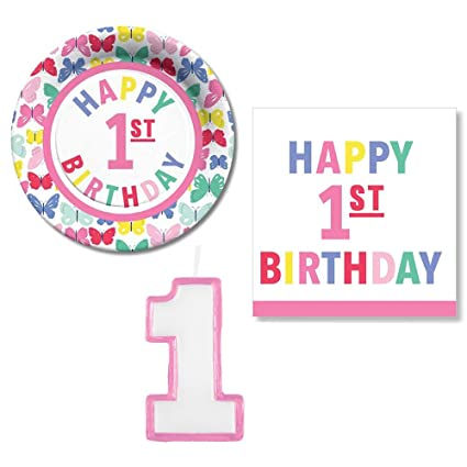 Amazon.com: c.r. gibson 1st cumpleaños plato de postre ...