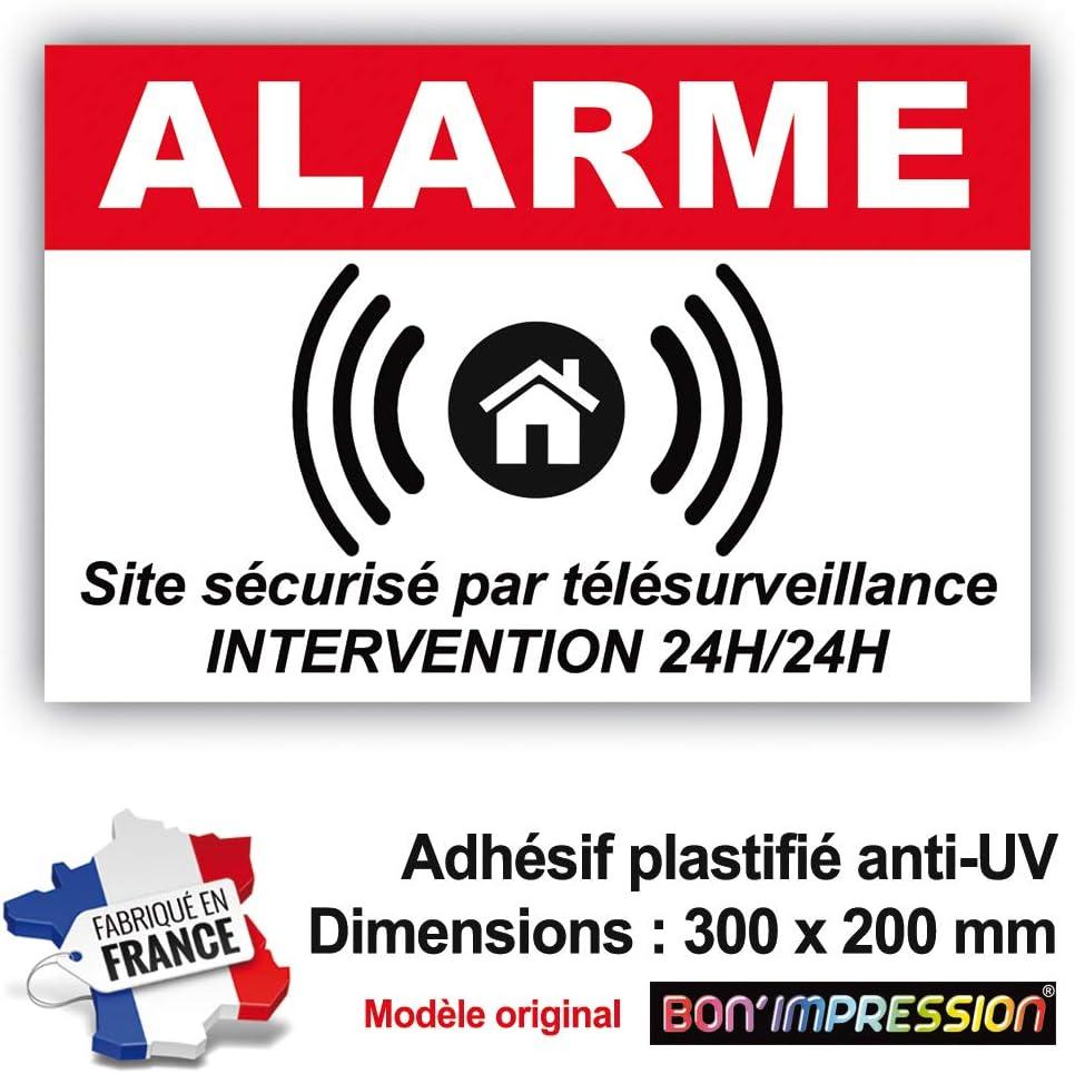 T/él/ésurveillance avec Intervention 24H//24H Autocollant de Dissuasion Site Prot/ég/é par Alarme 300 x 100 mm en Vinyle imprim/é plastification de Protection Anti UV avec Texte
