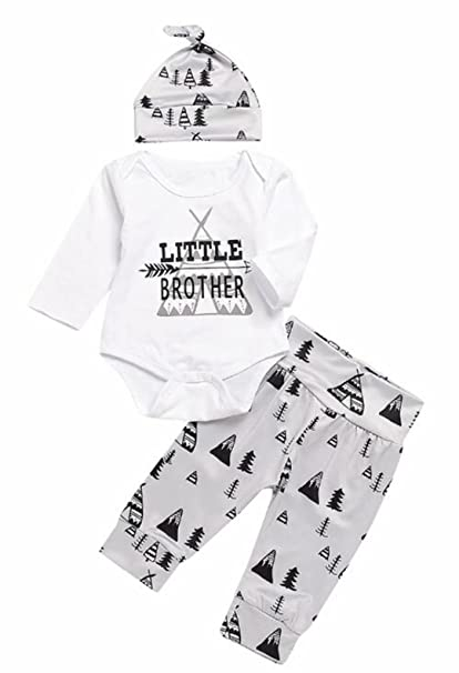 e74d480f2995 Amazon.com  Newborn Baby Boys Little Brother Bodysuit Romper Pine ...