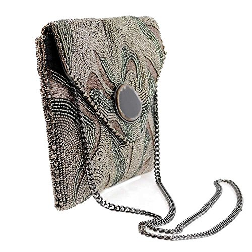 Energy Beaded Mary Pewter Embroidered Earth Crossbody Clutch Frances Pewter qEw6aw