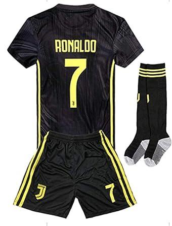 b2ae630b793 LISIMKE 2018-2019 Portugal C Ronaldo #7 Juventus Away Soccer Kids Or Youth  Soccer