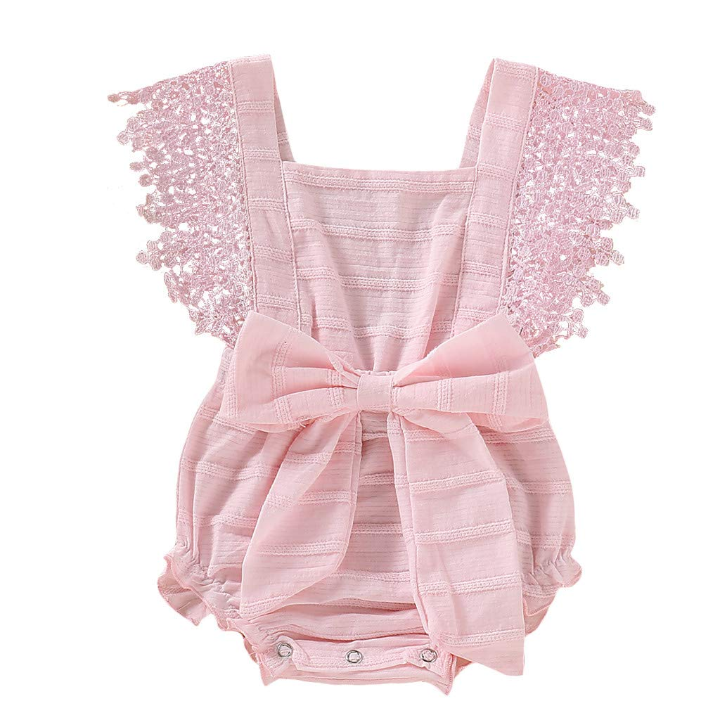 NUWFOR Newborn Infant Baby Girl Boy Solid Lace Bow Romper Bodysuit Clothes Outfits(Pink,6-12 Months)