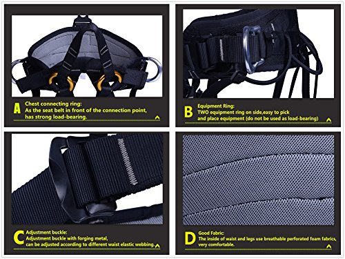 Climbing Half Body Harness Safe Seat Belt for Mountaineering Higher Level Rescue Caving Rock Climbing Rappelling Equip