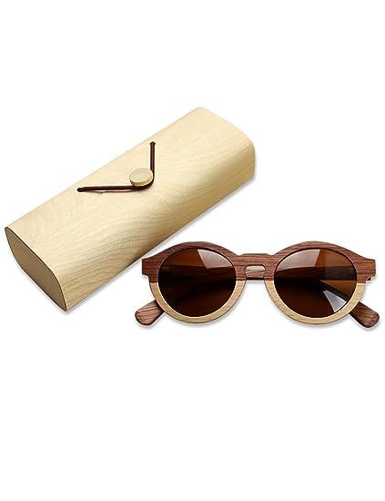 Lunettes de soleil polarisées en bois pour les hommes et les femmes UV bloquant Vintage lunettes de soleil ovales lunettes de soleil de lunettes de soleil de mode de mode femmes hommes(Noir) Y1Ly0JJPTB