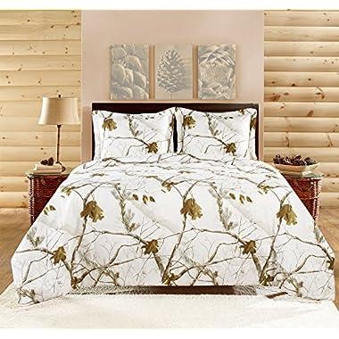 Realtree APC 3 Piece Comforter Set, King, Bright Snow