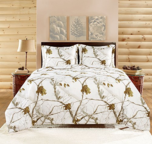 - Realtree APC 3 Piece Comforter Set, Queen, Bright Snow