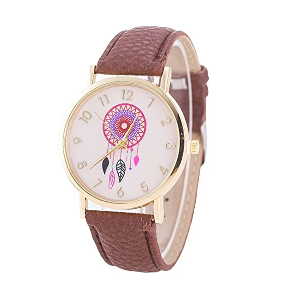 Amazon.com: Fashion Women Girls Watch - PU Leather Strap Dreamcatcher Quartz Watch Wrist Watch for Ladies, Light Brown: Watches