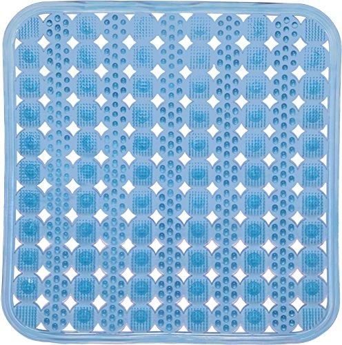 (Melange Square Massage Shower Mat Non Slip Anti Bacterial PVC, 17.75 x 17.75, Clear Blue)