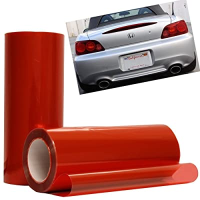 12 by 48 Inches Self Adhesive Headlight, Tail Lights, Fog Lights Tint Vinyl Film (12 X 48, Red): Automotive