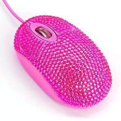 Optical Wired Computer Mouse with Crystal Rhinestone