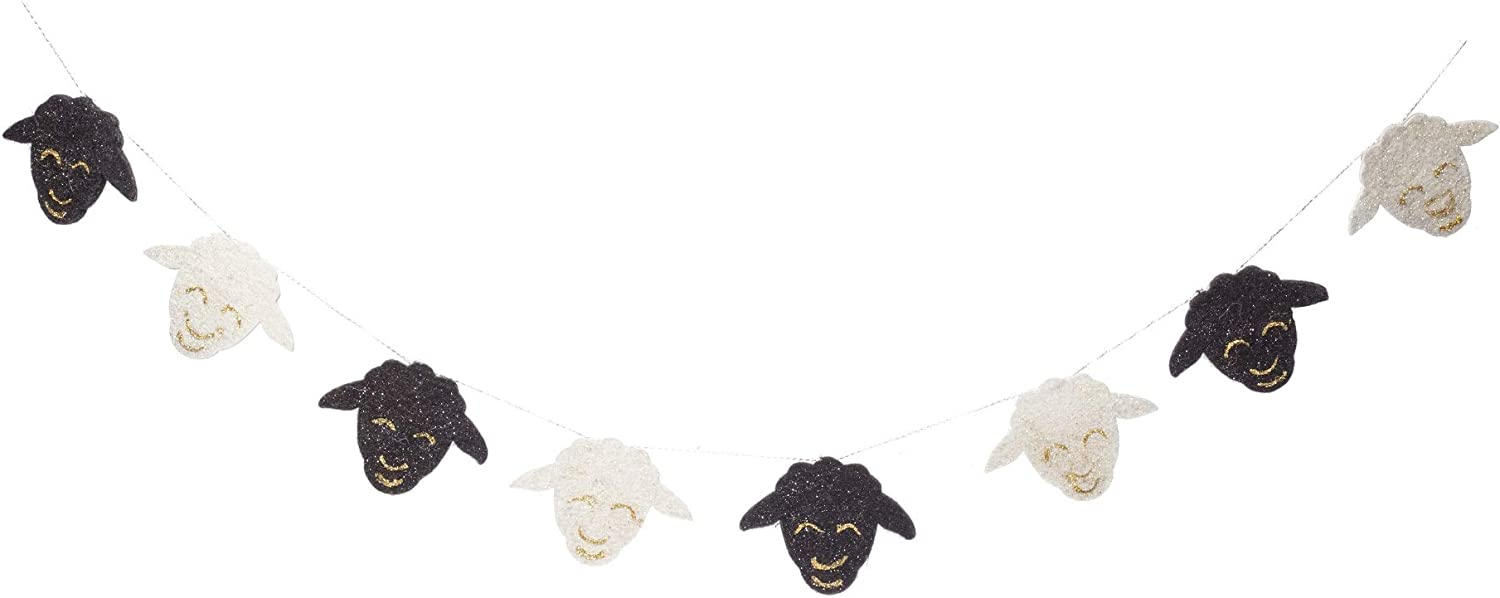 De Kulture Handmade Felt Easter Sheep Garland (48 inches Long) for Easter Decoration Home Decoration Party Decoration