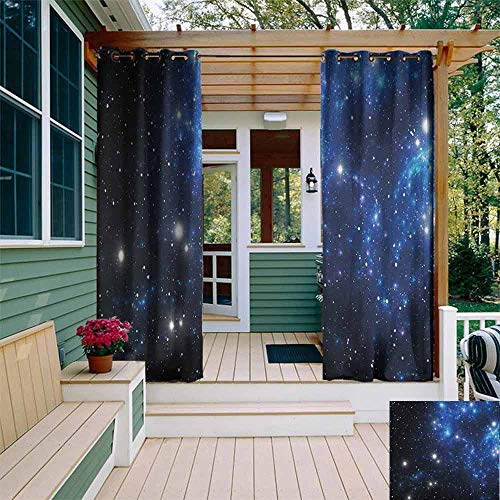 DONEECKL Outdoor Grommet Top Curtain Panel Constellation Outer Space Star Nebula Astral Cluster Astronomy Theme Galaxy Mystery Room Darkening, Noise Reducing W72 x L108 Blue Black White