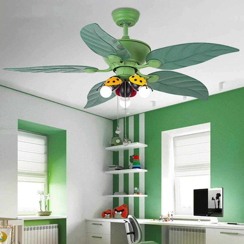 Huston Fan Kids Bedroom Ceiling Fan Light with 5 Green Reversible Blade and 3 Ladybug Lampshade,42 Inch Children Boy Bedroom Ceiling Fan with LED Lights,3 Color Setting-Non Dimmable,2 Down Rod