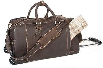 Bolso de viaje marron con ruedas bolso hombre bolso de cuero