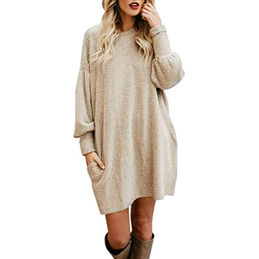 Women Casual Long Sleeve Sweater T-shirt Dress With Pockets Loose Swing T- Shirt Dress at Amazon Women s Clothing store  f5d13c3b9