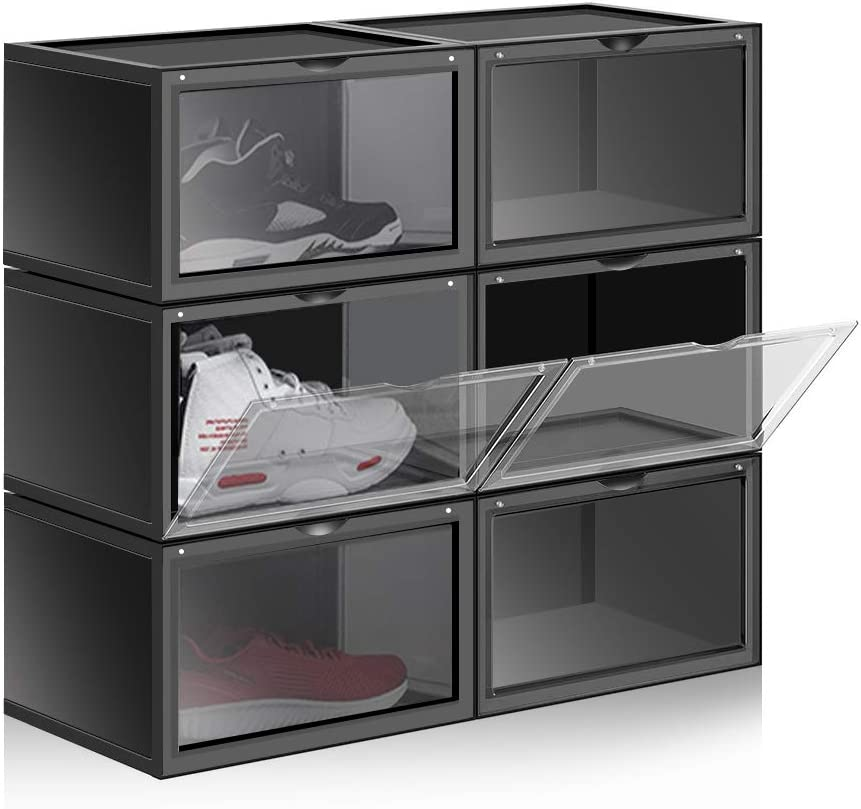 Large Size Shoe Organizer 6 Pack ABS Magnetic Side Open Storage Shoes Box Stackable Foldable for Women Men Sneaker Collectors (Black)