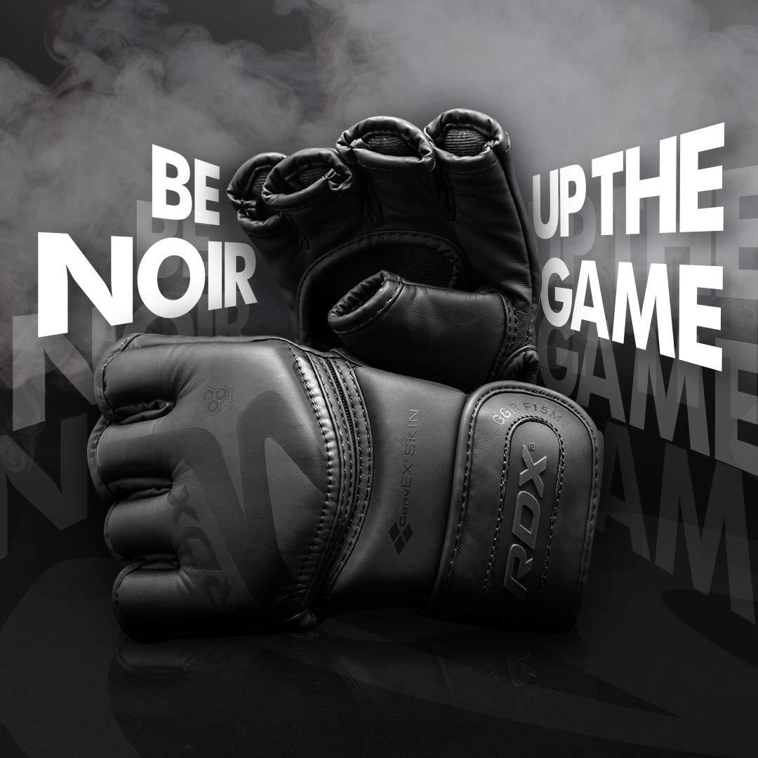 Abierto Palma Mate Negro Convexo Piel Cuero Guantes RDX MMA Guantes Grappling Lucha contra La Jaula De Sparring Entrenamiento Guante