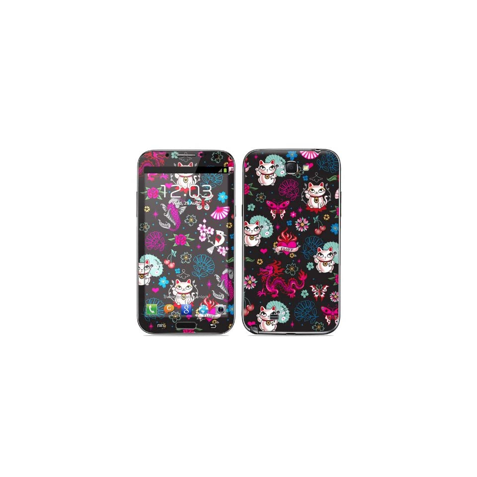 Geisha Kitty Design Protective Decal Skin Sticker (High Gloss Coating) for Samsung Galaxy Note II GT N7100 Cell Phone Cell Phones & Accessories