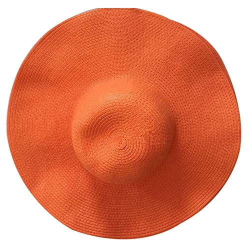 t Wide Brim Solid Color Elegant Straw Beach Cap Soft and Breathable Anti-UV Foldable and Packable (Elegant Straw)