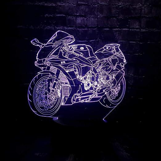 wangZJ 3D LED Luz nocturna Luz led Motocicleta Forma Coche 7 ...