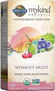 Garden of Life Vegan Women mykind Organic Women Whole Food Vitamin Supplement, 120 Count (Pack of 1)