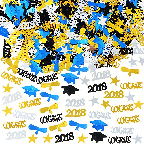 2018 Graduation Table Confetti Graduation Party Supplies - 3 Oz / 2000 Pieces. Graduation Decorations for Grad Party are of Gold, Black, Silver and Blue CONGRATS, Stars, 2018, Cap, Diploma Confetti -