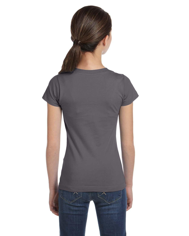 LAT Girls' Fine Jersey T-Shirt, XL, CHARCOAL