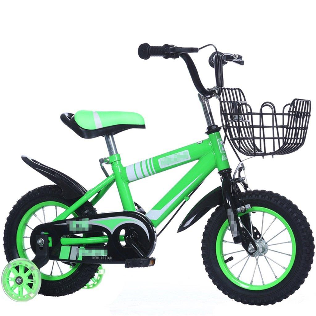 KANGR-子ども用自転車 子供の自転車マウンテンバイクに適した2-3-6-8ボーイズとガールズ子供用おもちゃのハンドルバー/サドルの高さはフラッシュトレーニングホイールで調節可能-12 / 14/16/18インチ ( 色 : 緑 , サイズ さいず : 14 inches ) B07BTZF2T8 14 inches|緑 緑 14 inches
