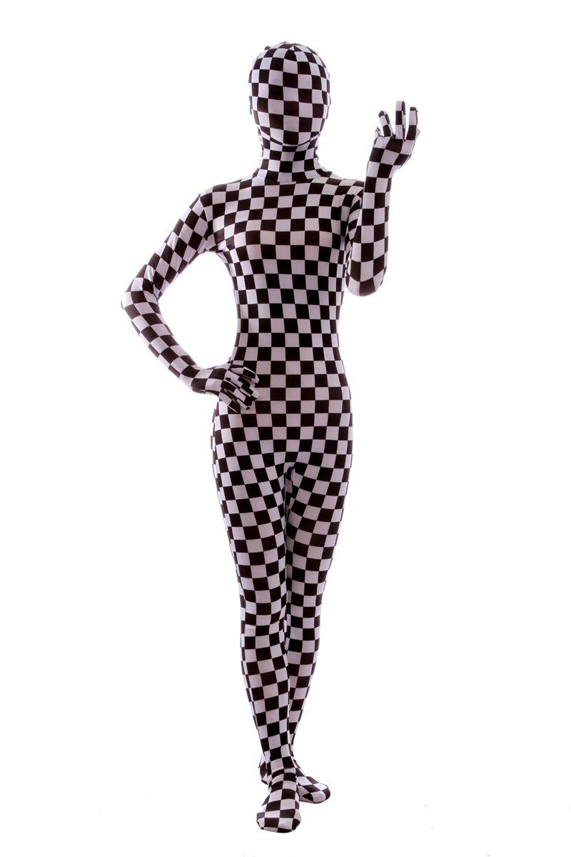 Nedal Checkered Bodysuit Costume For Women Halloween Onesie Lycra Zentai 61No9R 8JUL