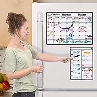 Calendario magnético borrado en seco pizarra blanca para nevera, 2020 semanal y mensual planificador de comidas 2020…