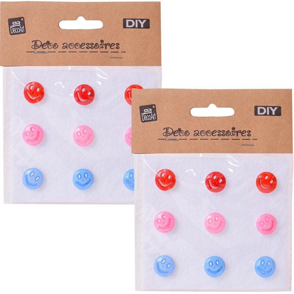 TE-DecoArt 18 St/ück DIY Zierkn/öpfe /Ösenkn/öpfe Smiley Emoji 14 mm Bunte Kn/öpfe zum selber Basteln und Verzieren