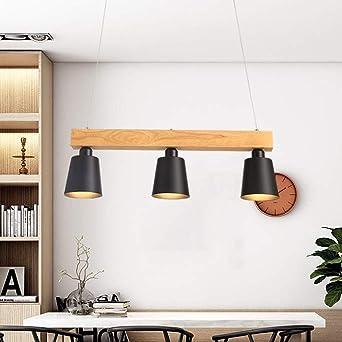 Lámpara colgante LED mesa de comedor madera 3 llamas blanco cálido ...