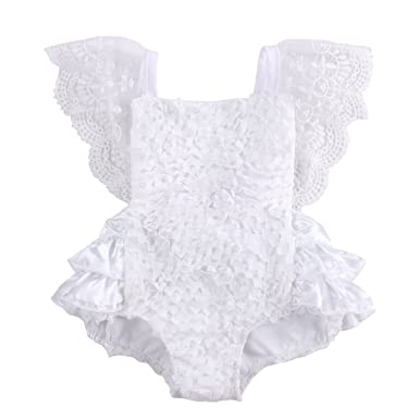 Mother & Kids Cute Newborn Baby Girl Lace Off Shoulder Romper Solid White Princess Fancy Jumpsuit Outfit Clothes