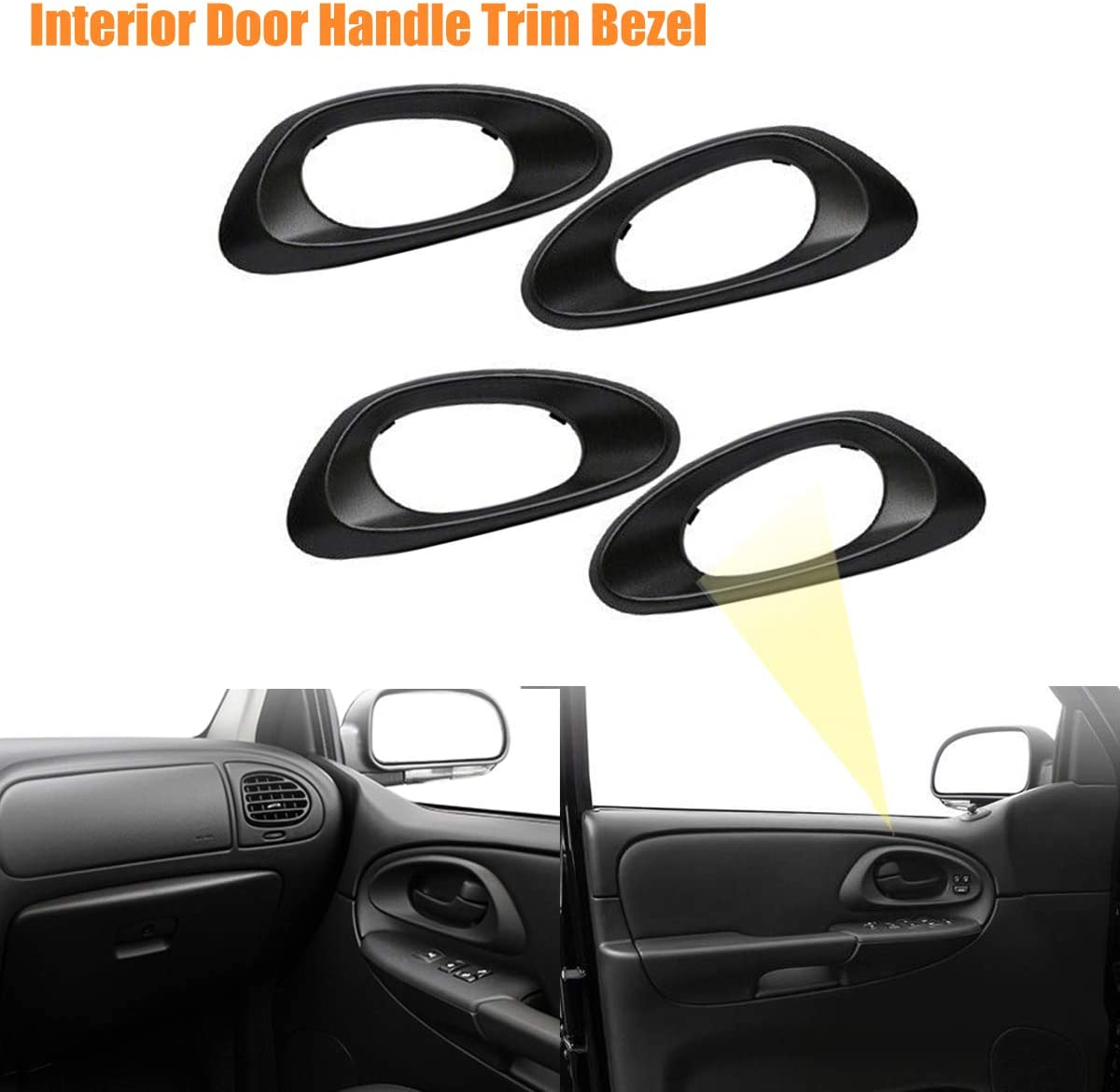 Black Kit of 4 Inside Driver Passenger Side NPAUTO Interior Front Rear Left Right Door Handle Trim Bezels Replacement for Chevy Trailblazer EXT 2002 2003 2004 2005 2006 2007 2008 2009