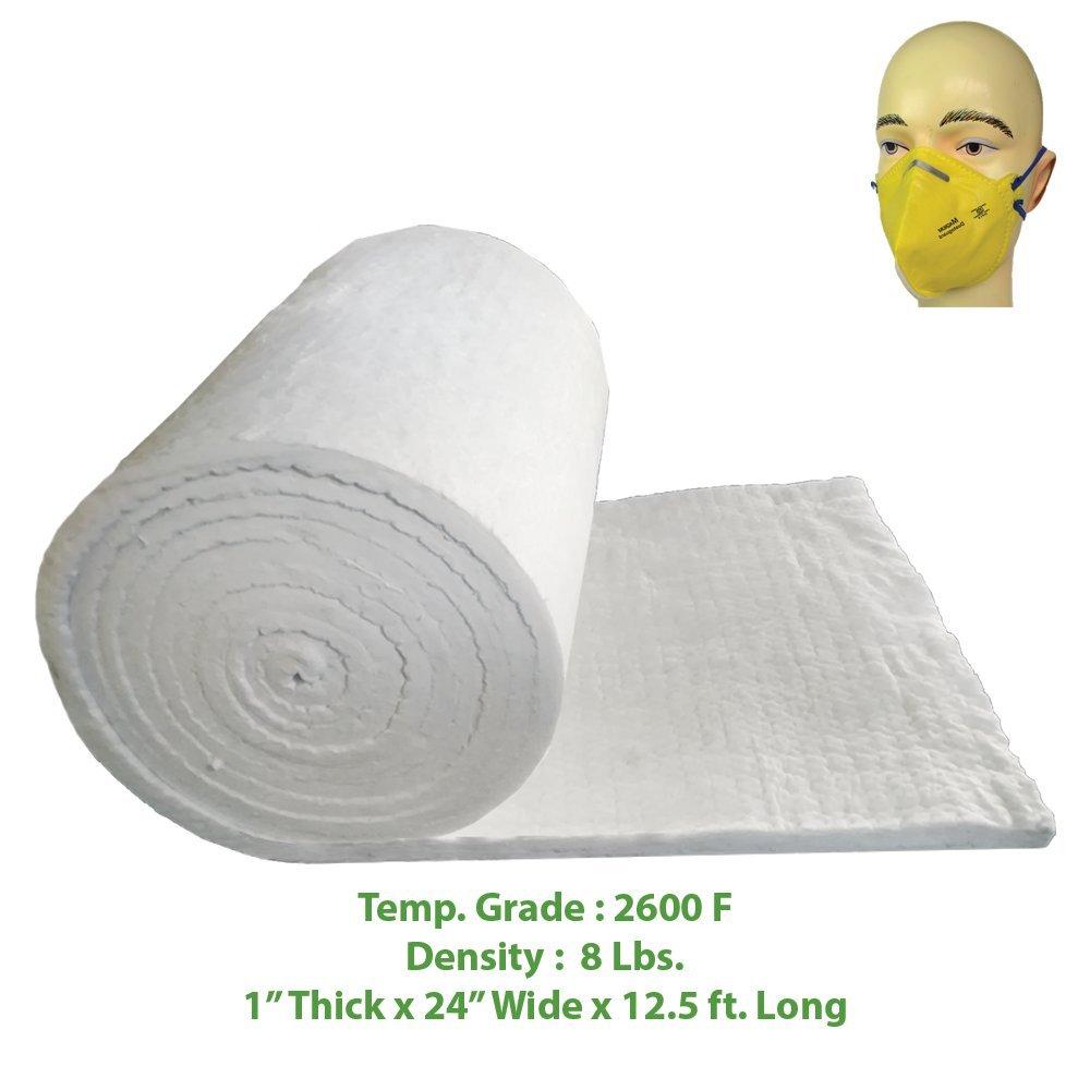 Ceramic Fiber Blanket (2600F, 8# Density) (1'' x 24'' x 12.5') Ovens, Kilns, Furnaces, Glass Work and Chimney Insulation