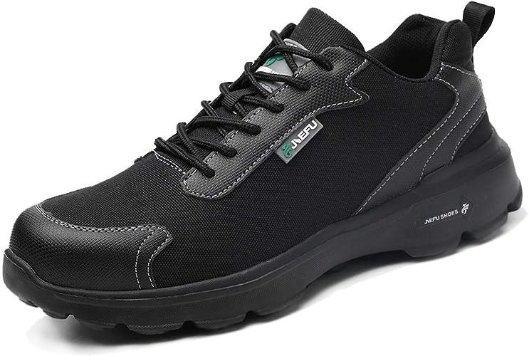 Kefuwu Zapatillas de Seguridad Hombre Ligero Transpirable Zapatos de Seguridad con Puntera de Acero Anti-pinchazo Calzado de Seguridad