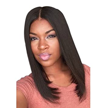 Amazon.com   Gracefulvara Fashion Medium Straight Middle Part Black ... 7741e08b6