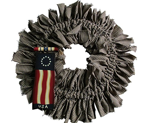 (Primitive Americana Rag Wreath Colonial)