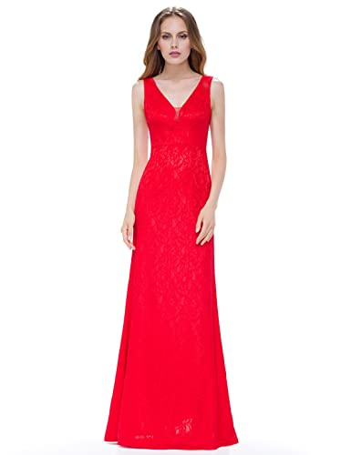 Ever Pretty Women's Sleeveless Floor Length Fitted Lace Evening Dress 08917