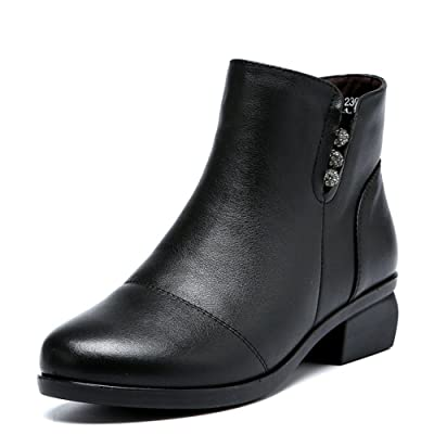 Boots Genuine Leather and Down To Keep Warm Mom Shoes Leather Low Heels Short