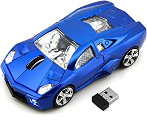 2.4GHz Wireless Optical Gaming Mouse Sport Car Shape Cordless Mice 3 Buttons DPI 1600 Mouse for PC Laptop Computer (Blue)