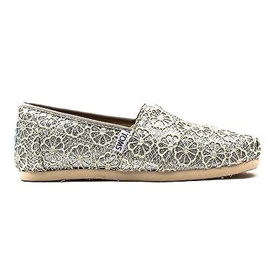 Toms Classic Crochet Glitter Women Slipper Silver 10006150 Size40