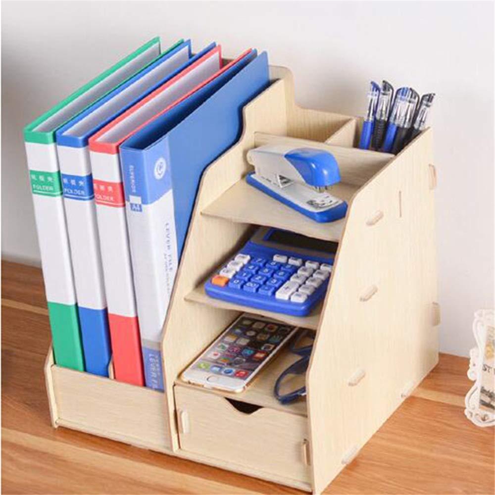 DESTDOU Hölzerne Bücherregal-Schubladen-Aufbewahrungsbox Magazin Book Office File Holder Tragbare Tragbare Tragbare und ordentliche Aufbewahrungsbox (Farbe   Beige, größe   28  26  30cm) B07PSM5QBX | Günstigstes  9982f0