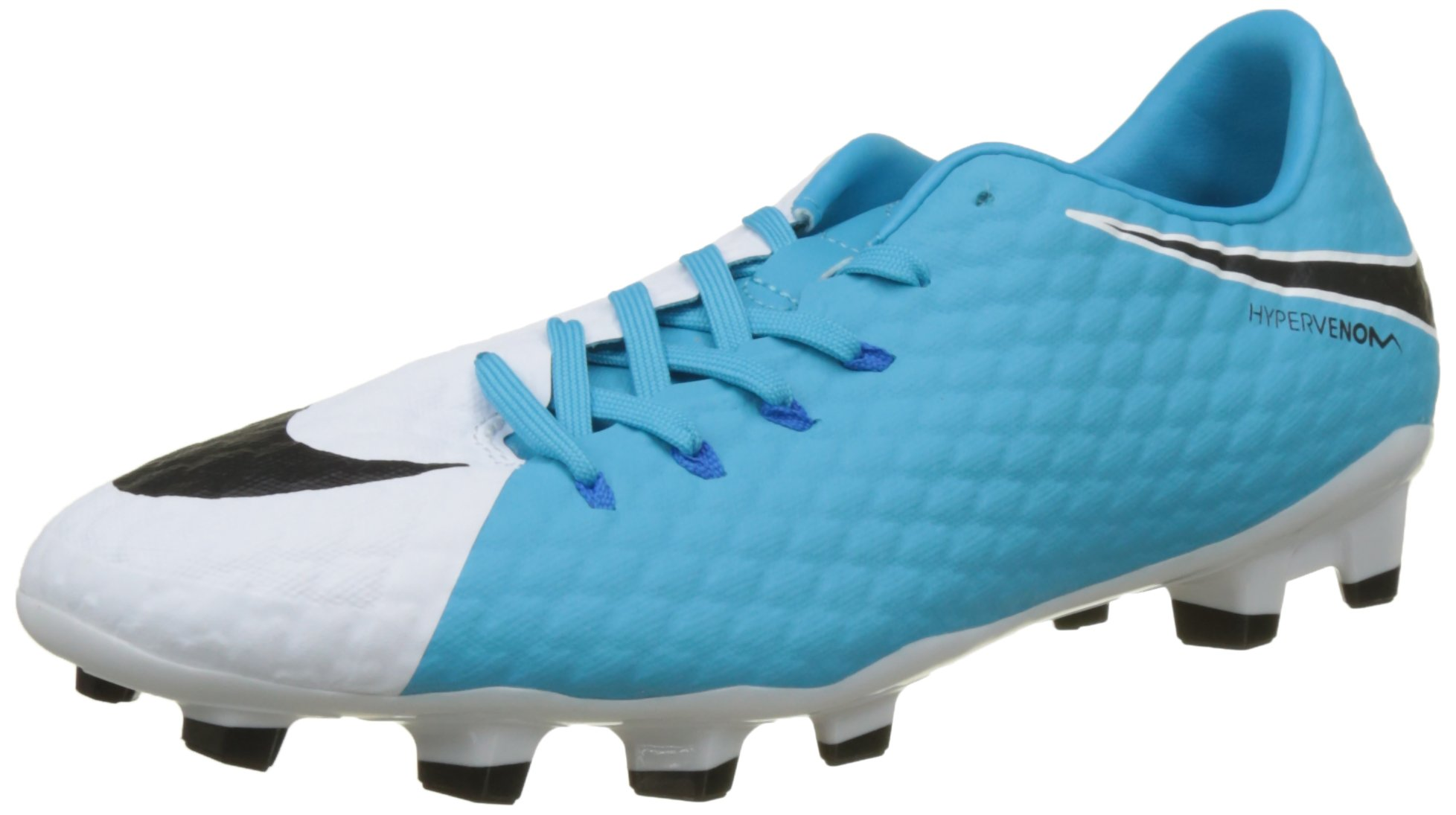 NIKE Men's Hypervenom Phelon III FG, White/Black/Photo Blue/Chlorine Blue, 9 D-Medium