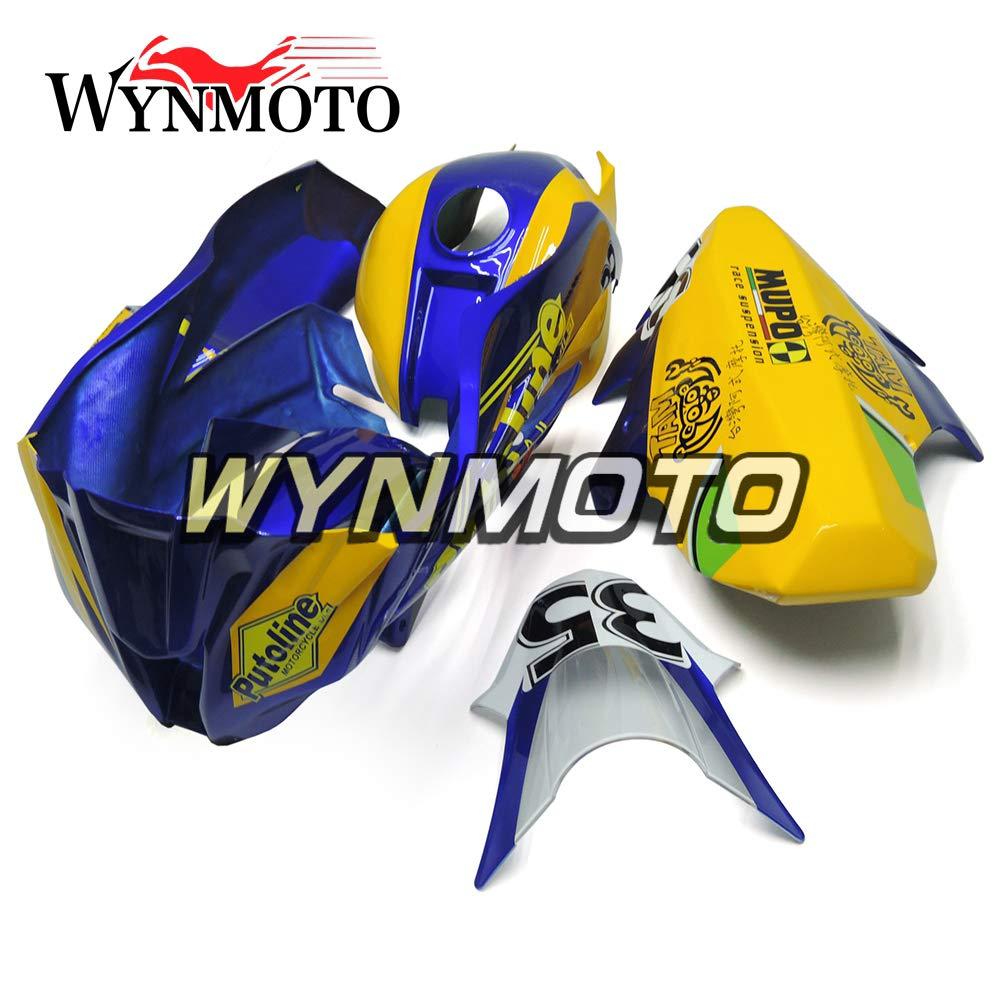 WYNMOTO 外装パーツセット適応モデルカワサキ忍者 ZX-10R ZX10R 2011 2012 2013 2014 2015 11-15 年インジェクショングラスファイバーレーシングフルフェア イエローとブルーボディキットカウ   B075T91XLL