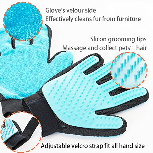 Pet Grooming Glove Brush by Suwoic, 3in1 - Gentle Deshedding Tool & Massage & PET HAIR REMOVER - Effective Grooming mitt for Dog, Cat, Bunny and Horse with Long or Short hair