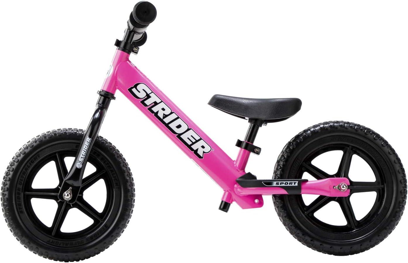 Strider 12 Sport - Bicicleta sin Pedales Ultraligera - para niños de 18 Meses, 2,3, 4 y 5 años, sillín Ajustable, 12 Pulgadas (Rosa)