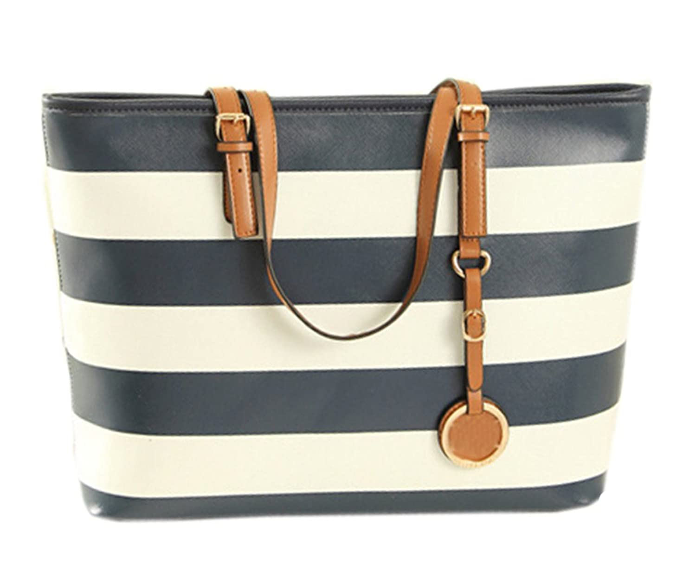 Prettybag Women's Charm Stripes PU Leather Shoulder Bag Handbag